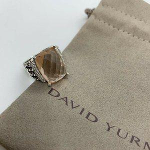 David Yurman 16x12 Morganite Wheaton Ring Size 7